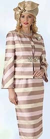 Lily and Taylor 4332 - Womens Church Suit With Multi Stripe Print Design