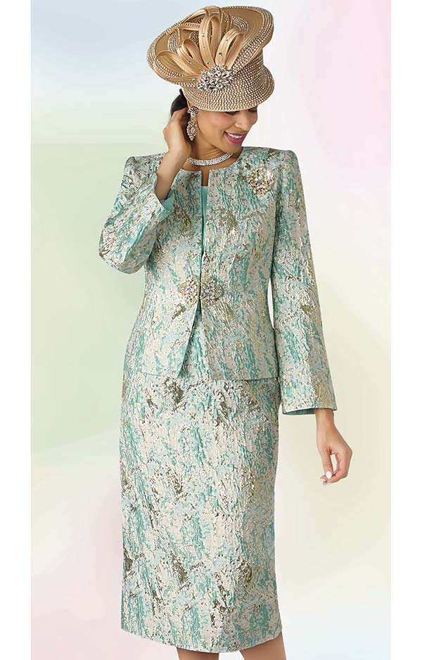 Lily and Taylor 4333 - Three Piece Skirt Suit With Jewel Neckline In Textured Novelty Fabric