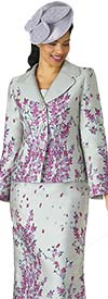 Lily and Taylor 4342 - Novelty Fabric Ladies Skirt Suit With Multi Floral Print