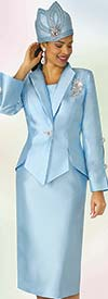 Lily and Taylor 4343 - Womens Silky Twill Three Piece Skirt Suit With Buttoned Split Sleeves