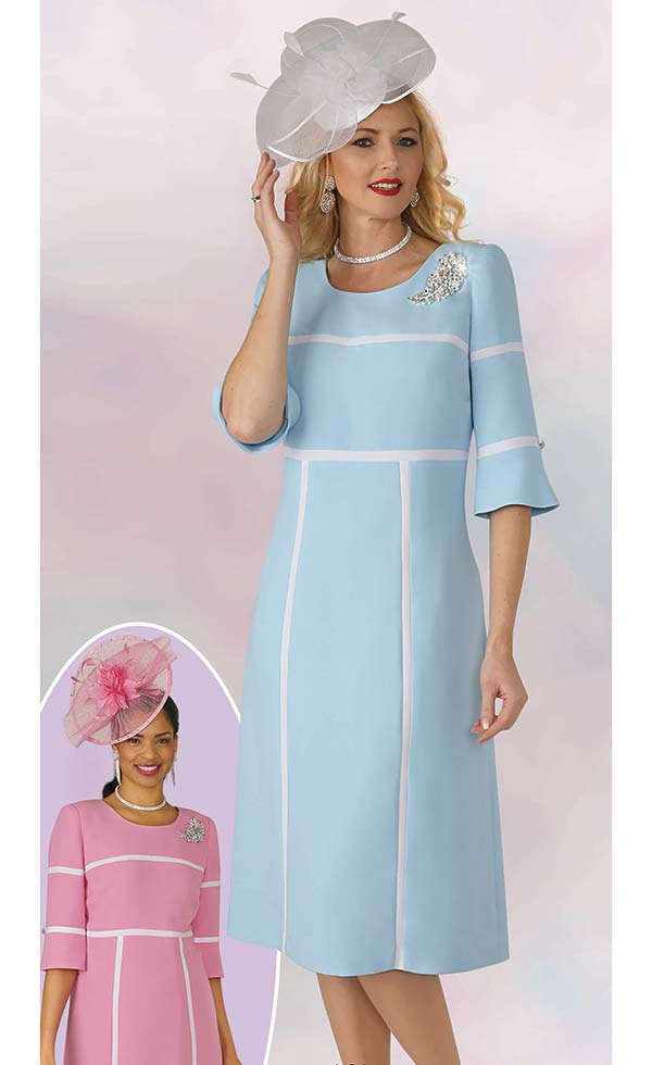 Lily and Taylor 4344 - Ladies French Crepe Fabric Church Dress Intersecting Line Design