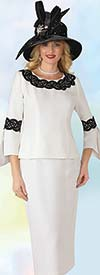 Lily and Taylor 4345 -  Two Piece French Crepe Fabric Womans Church Suit With Lace Trim & Split Sleeves
