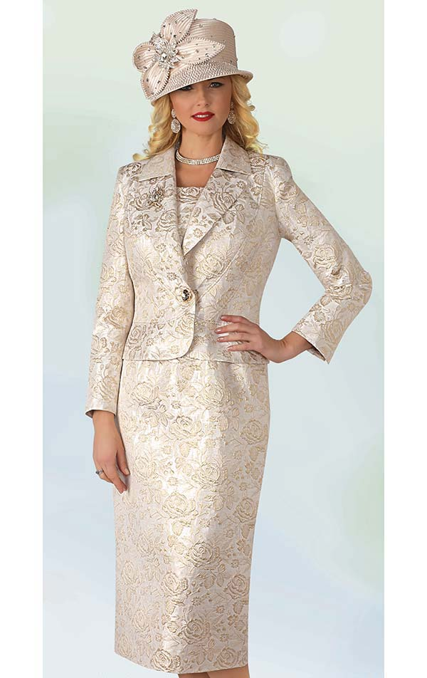 Lily and Taylor 4349 - Three Piece Skirt Suit With Deep Notch Lapels In Textured Novelty Fabric