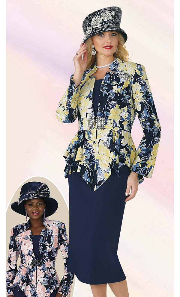 Lily and Taylor 4351 - Ponte Knit Fabric Skirt Suit With Star Neckline Peplum Jacket