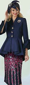 Lily and Taylor 4352 - Novelty & Silk Twill Fabric Skirt Suit With Peplum Jacket