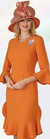 Lily and Taylor 4353 - French Crepe Dress With Flounce Hem & Bell Cuff Sleeves