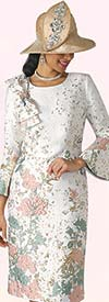 Lily and Taylor 4356-Rose - Ladies Church Dress With Bell Sleeves & Shoulder Bow