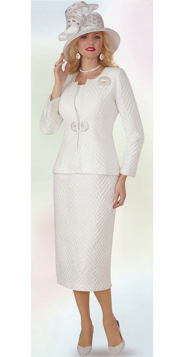 Lily and Taylor 4360-Ivory - Womens Three Piece Skirt Suit In Textured Novelty Fabric