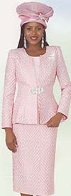 Lily and Taylor 4360-Pink - Womens Three Piece Skirt Suit In Textured Novelty Fabric