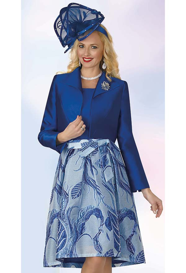 Lily and Taylor 4369 - Womens Three Piece Pleated Skirt Suit With Multi Print Design