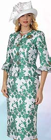 Lily and Taylor 4371-Green - Two Piece Floral Print Skirt Suit In Bell Cuff Sleeves
