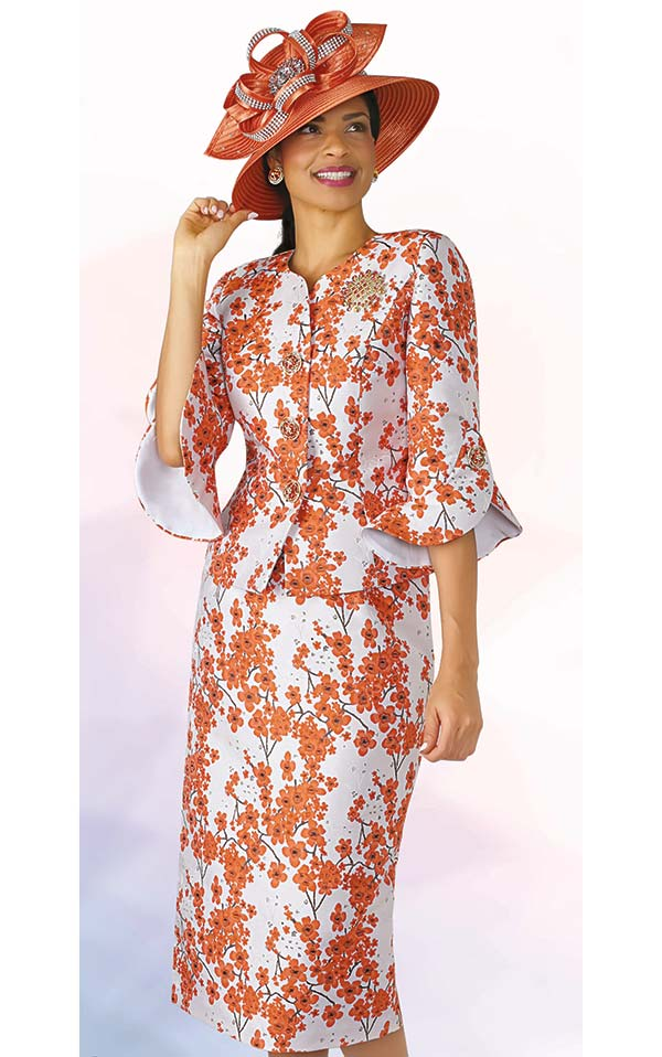 Lily and Taylor 4371-Orange - Two Piece Floral Print Skirt Suit In Bell Cuff Sleeves