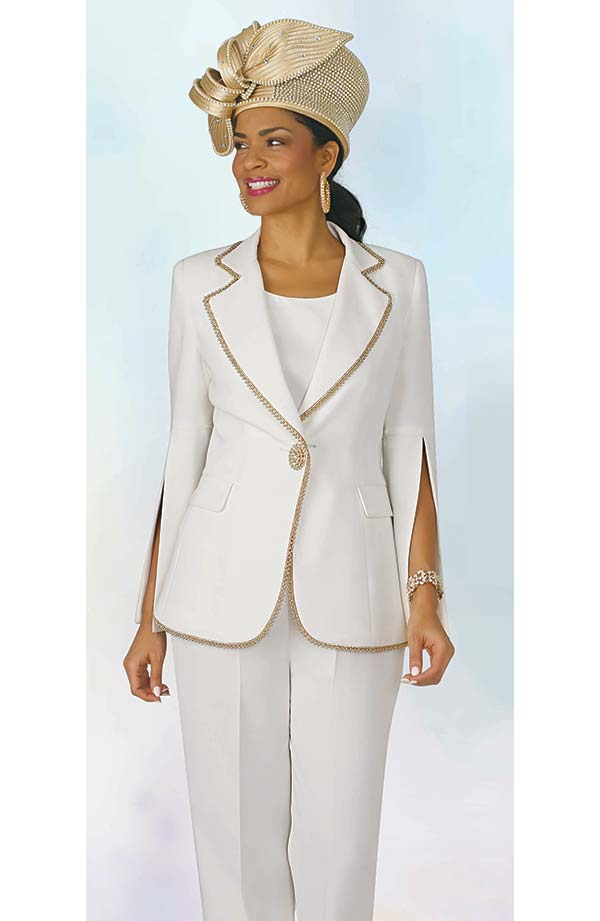 Lily and Taylor 4372 -  Three Piece French Crepe Fabric Womens Pant Suit With Beaded Trim & Split Sleeves