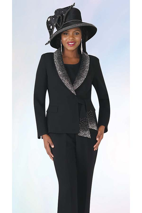 Lily and Taylor 4373 -  Rhinestone Embellished French Crepe Fabric Pant Suit With Shawl Lapel