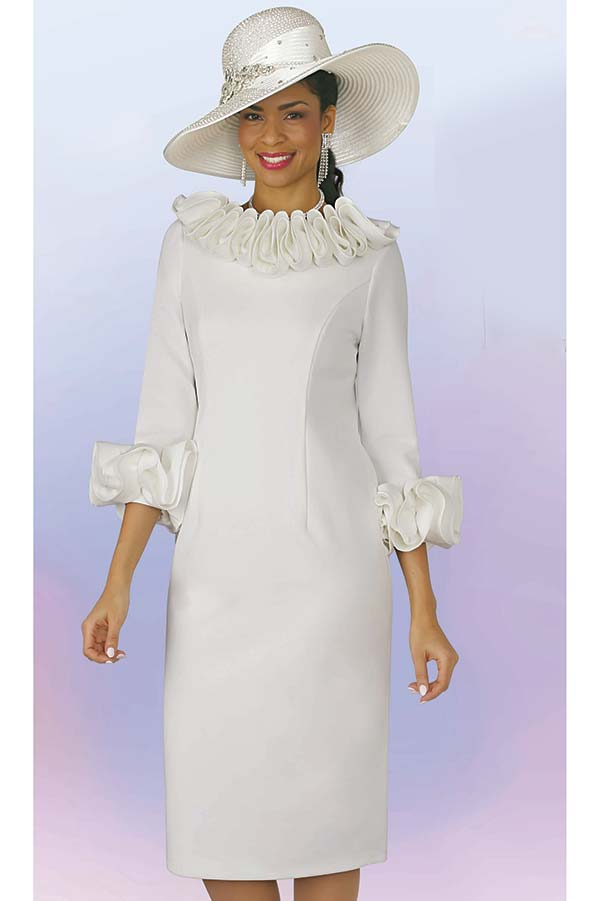 Lily and Taylor 4375 - Ruffle Trimmed Neckline & Sleeve Dress In Ponte Knit Fabric