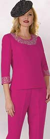 Lily and Taylor 4377 - French Crepe Fabric Womens Pant Suit With Rhinestone Trims
