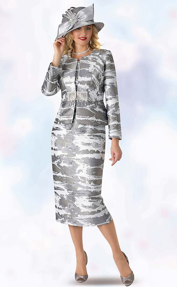 Lily and Taylor 4378 - Womens Three Piece Skirt Suit With Multi Print Design