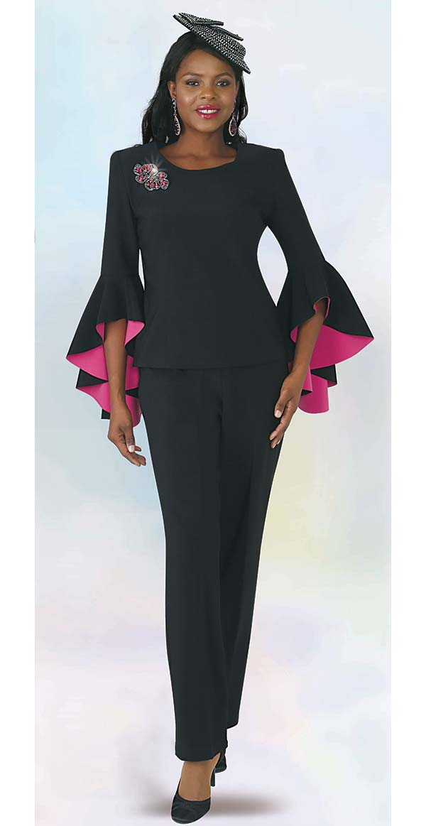 Lily and Taylor 4381 -  Two Piece Ponte Knit Fabric Womens Pant Suit With Flounce Hemmed Sleeves