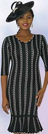 Lily and Taylor 625 - Knit Fabric Dress With Vertical Stripe Pattern & Scallop Trim