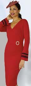 Lily and Taylor 626 - One Piece Knit Fabric Vee Neckline Dress With Stripe Trim Cuffs & Rhinestone Buckle
