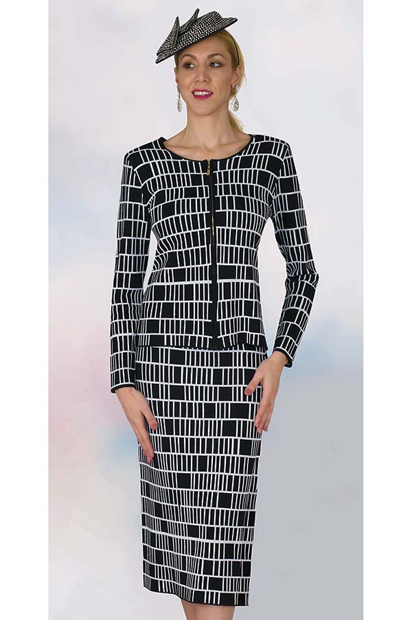 Lily and Taylor 628 - Knit Fabric Church Dress With Multi Block Pattern