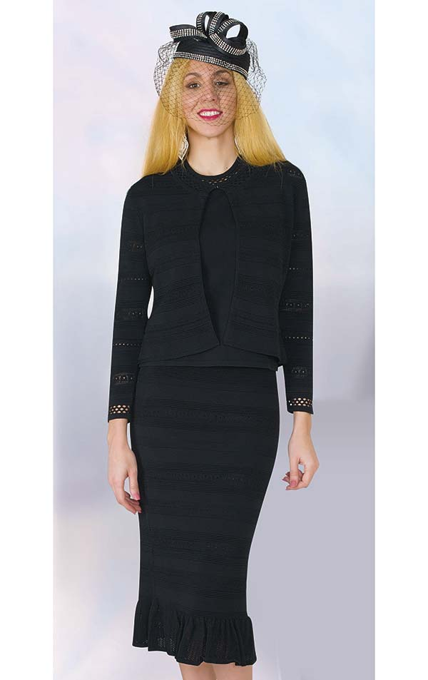 Lily and Taylor 639 - Three Piece Knit Fabric Flounce Hem Skirt Suit With Cut-Out Design
