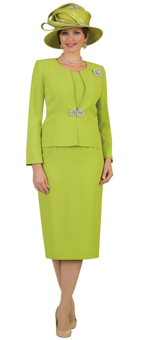 Lily and Taylor 3052 - Womens Poly Crepe Classic Church Suit With Brooch