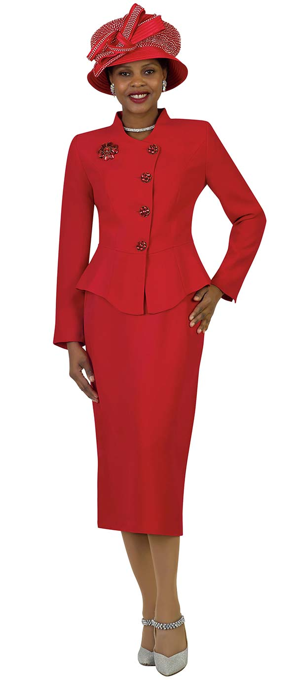 Lily and Taylor 4046 - French Crepe Fabric Skirt Set With Peplum Jacket