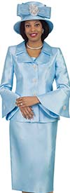 Lily and Taylor 4107 - Skirt Suit With Bell Cuff Sleeves And Layered Lapel Jacket
