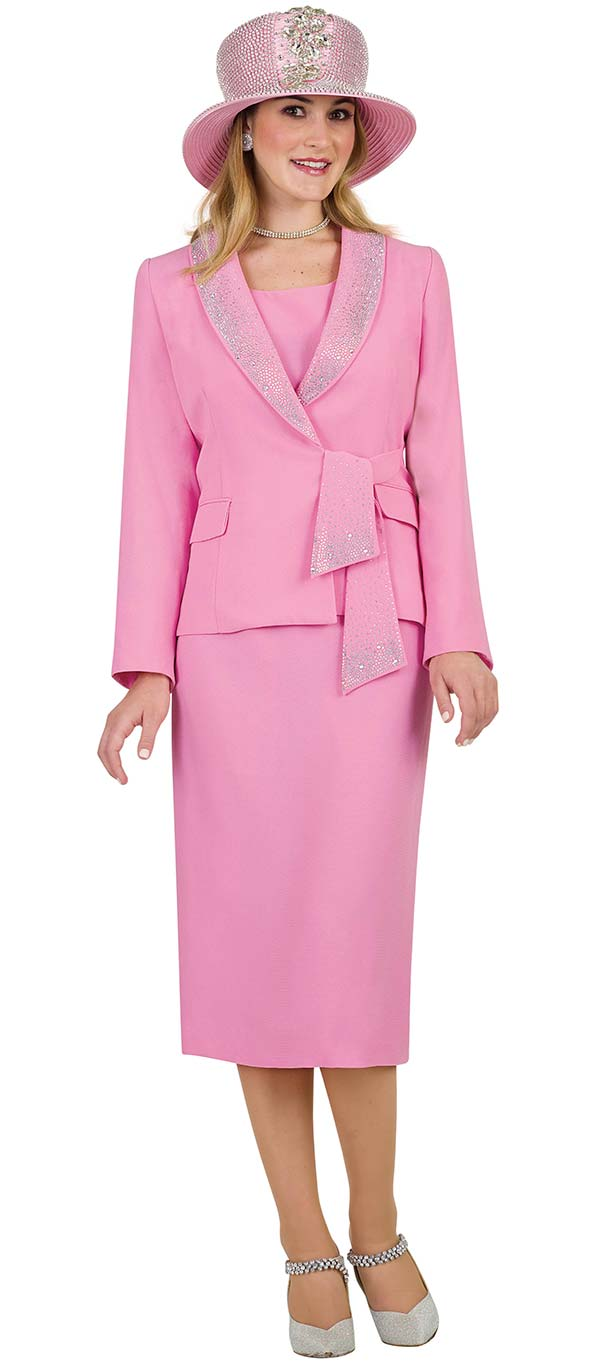 Lily and Taylor 4303-Pink - French Crepe Fabric Rhinestone Embellished Shawl Lapel Skirt Suit With Sash