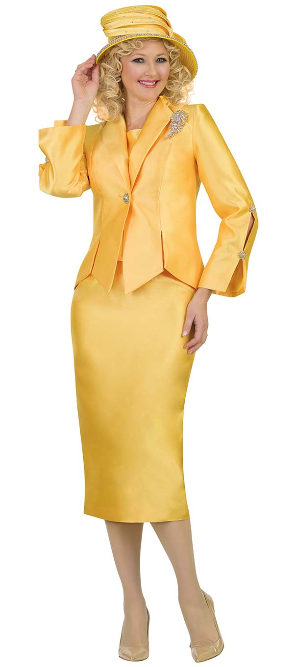 Lily and Taylor 4343-Yellow - Womens Silky Twill Three Piece Skirt Suit With Buttoned Split Sleeves
