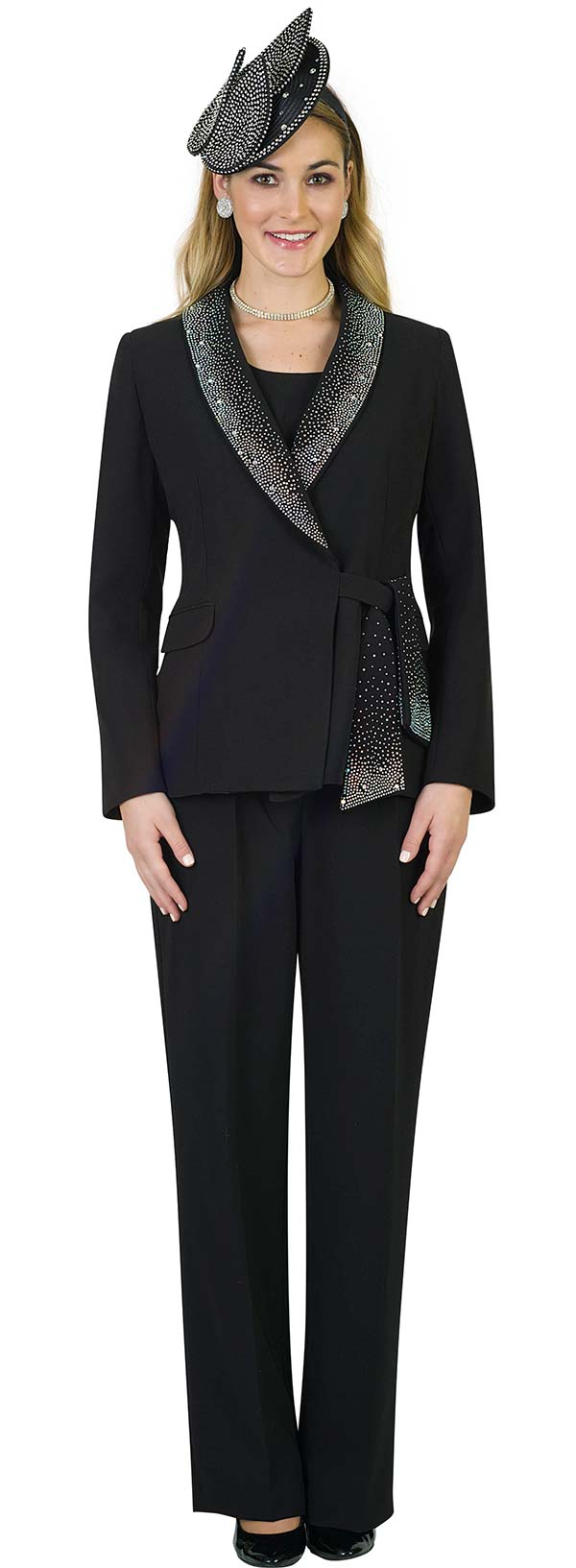 Lily and Taylor 4373-Black - Womens Three Piece Pant Suit With Rhinestone Encrusted Shawl Lapel & Sash