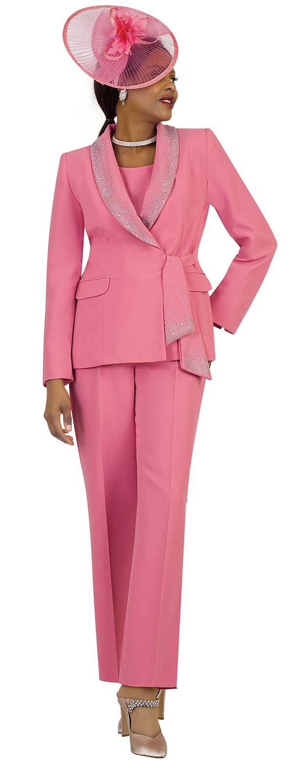 Lily and Taylor 4373-Rose - Womens Three Piece Pant Suit With Rhinestone Encrusted Shawl Lapel & Sash