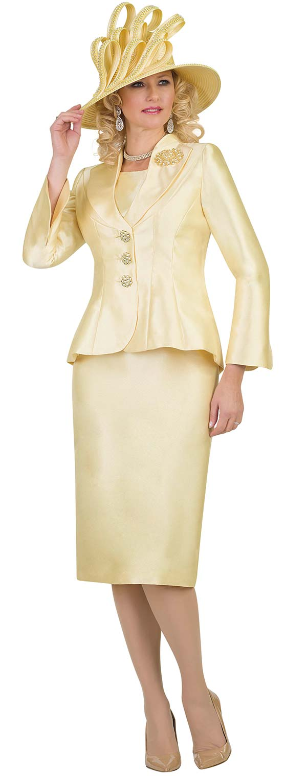 Lily and Taylor 4417-Canary - Womens Church Suit With Pointed Shawl Lapel