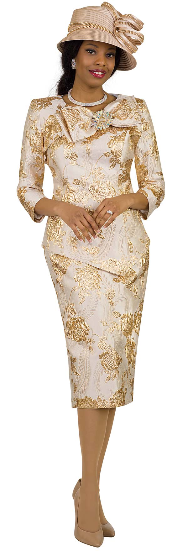 Lily and Taylor 4421 -  Novelty Brocade Look Church Suit With Bow Adornment Feature