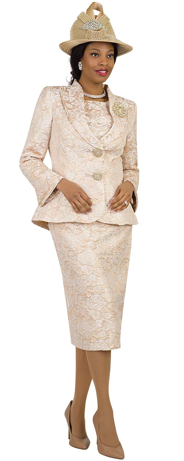 Lily and Taylor 4427 - Womens Church Suit With Pointed Shawl Lapel In Brocade Flower Fabric