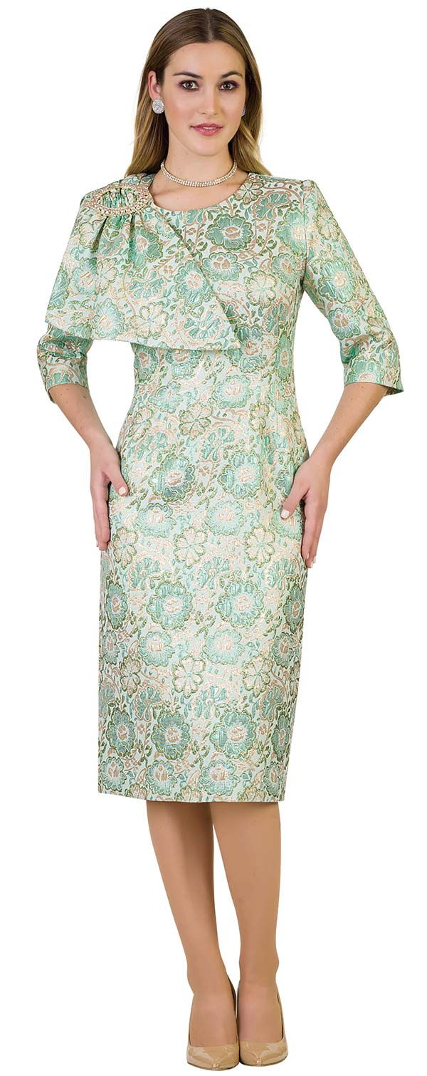 Lily and Taylor 4433 - Sheath Dress In Brocade Style Design With Shoulder Adornment