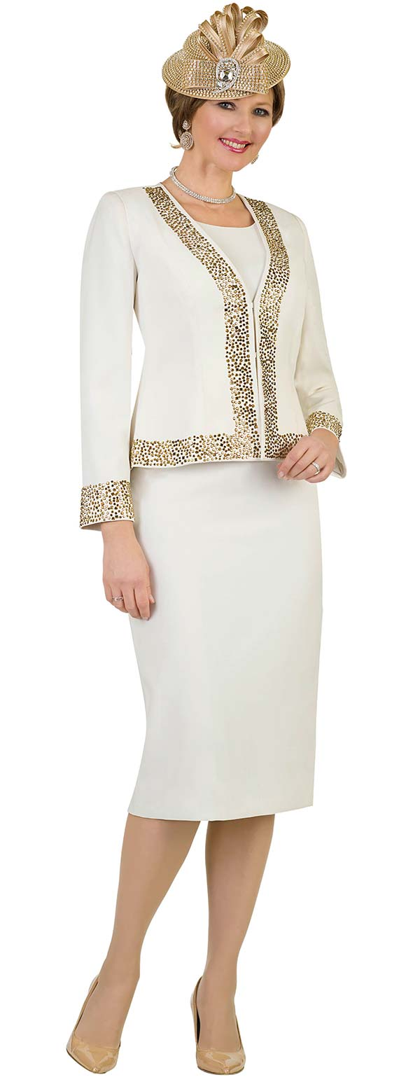 Lily and Taylor 4434 -  Skirt Suit With Collarless Jacket Trimmed In Gold Rhinestones