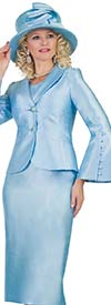 Lily and Taylor 4452-Blue - Womens Skirt Suit With Shawl Lapel Flared Sleeve Jacket