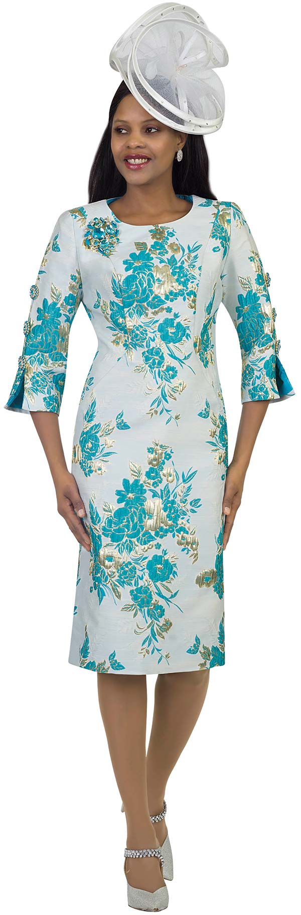 Lily and Taylor 4469-Turquoise - Novelty Floral Brocade Fabric Sheath Dress With Split & Buttoned Sleeves