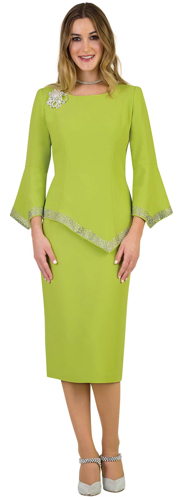 Lily and Taylor 4471-Lime -  Rhinestone Trimmed Skirt Suit With Pointed Hem-Line Jacket & Sleeves