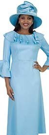 Lily and Taylor 4472-Blue - Embellished Ponte Knit Fabric Dress With Ruffled Bertha Collar & Flounce Sleeves