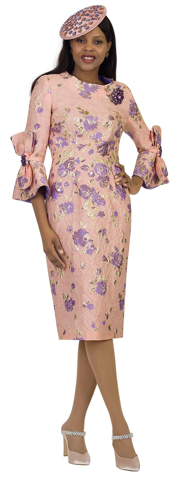 Lily and Taylor 4476 - Novelty Floral Brocade Fabric Sheath Dress With Bow Adorned Bell Cuff Sleeves