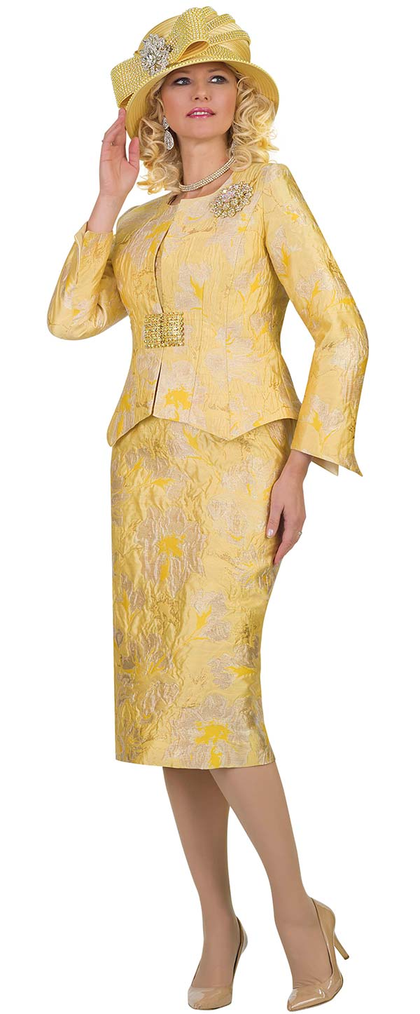 Lily and Taylor 4477-Canary -  Womens Multi Print Skirt Suit In Novelty Fabric
