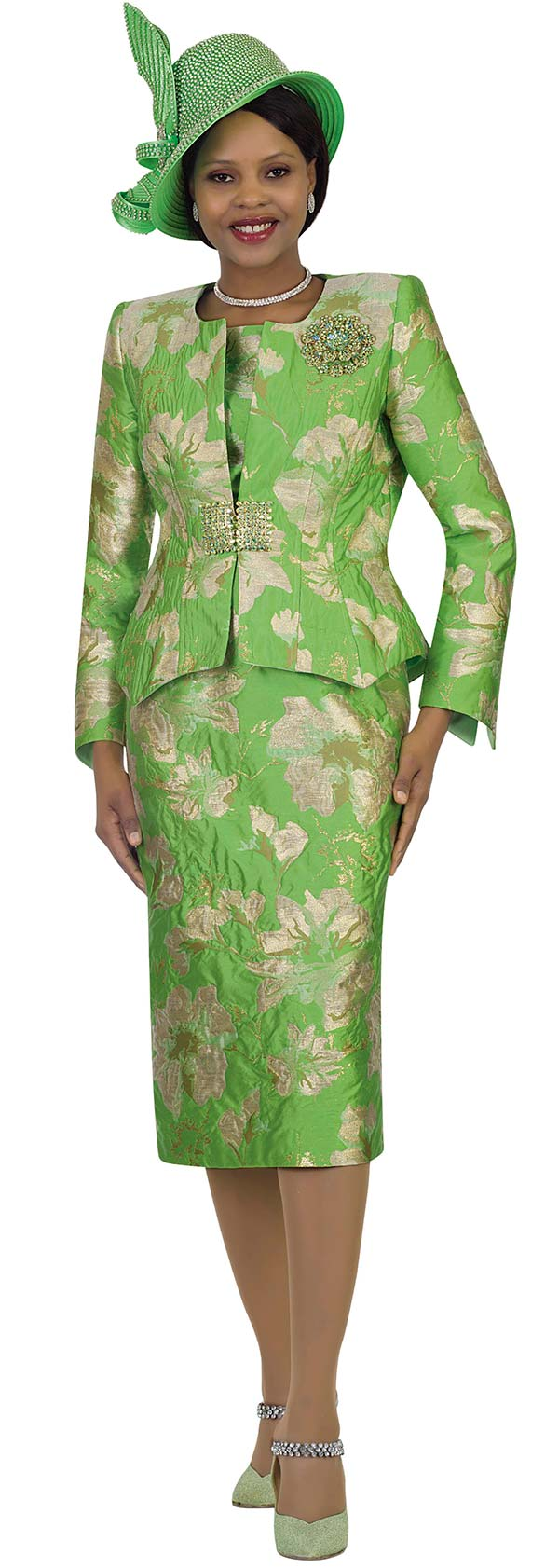 Lily and Taylor 4477-Green -  Womens Multi Print Skirt Suit In Novelty Fabric