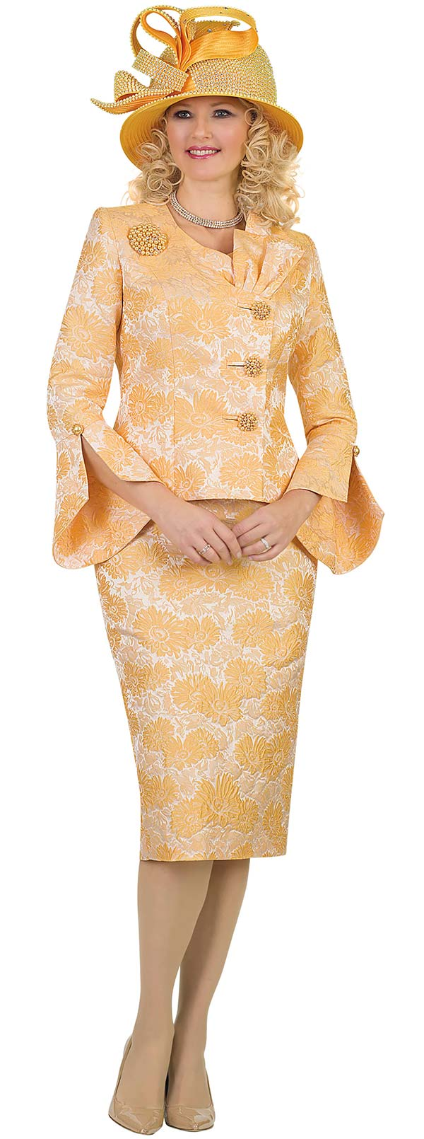 Lily and Taylor 4479-Yellow -  Floral Pattern Design Skirt Suit With Split Bell Cuff Sleeves