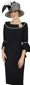 Lily and Taylor 4481-Black -  Flounce Sleeve Womens Church Dress With Pearl Trims