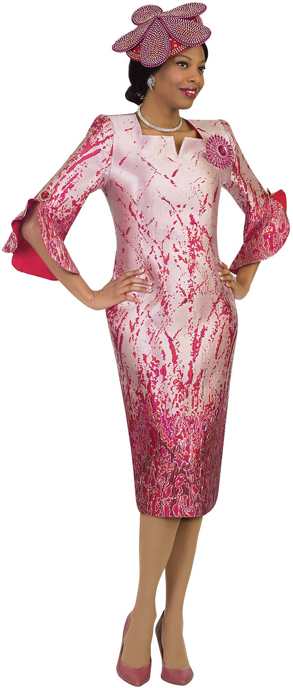 Lily and Taylor 4497 - Abstract Design Novelty Brocade Sheath Dress With Ruffle Cuff Sleeves & Star Neckline