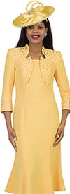 Lily and Taylor 4502-Yellow -  Rhinestone Embellished Womens Flared Church Dress With Star Neckline Design