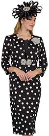 Lily and Taylor 4503-Black/Ivory - Three Piece Skirt Suit In Polka Dot Pattern Design